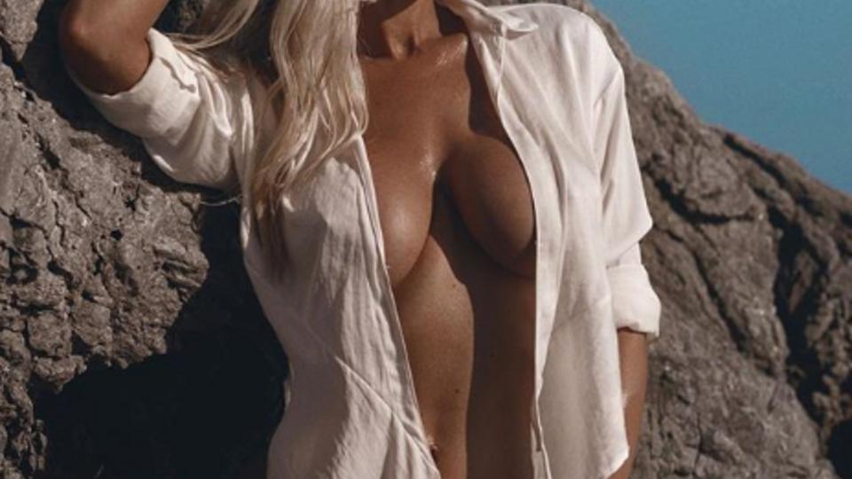 Белая грудь на фоне скалы