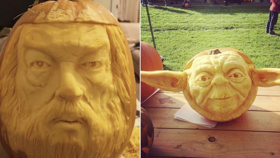Съедобные шедевры: художник вырезает скульптуры из тыкв