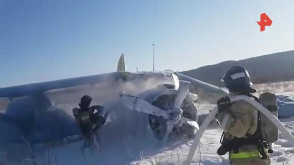 Новое видео с места жесткой посадки Ан-2 в Магадане
