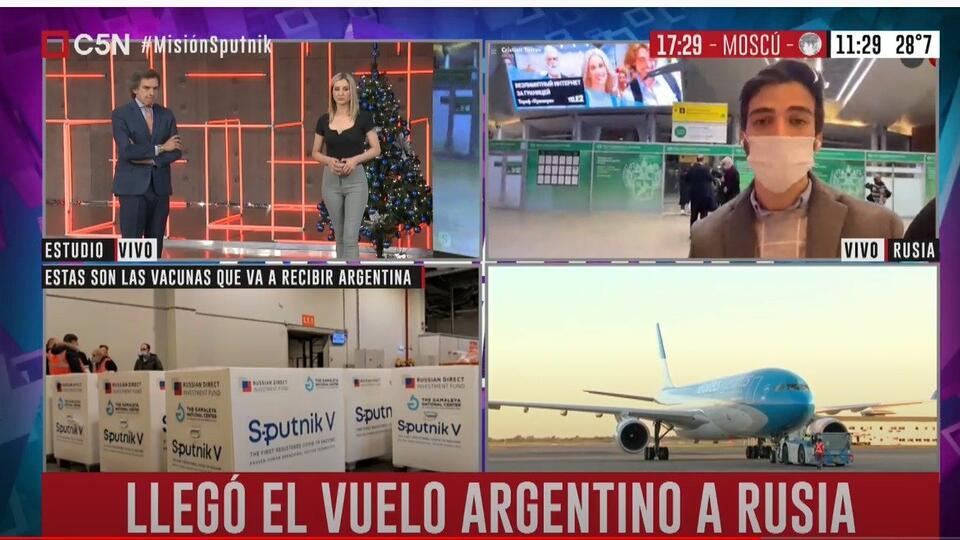 """В Аргентине назвали """"рейсом надежды"""" самолет с вакциной """"Спутник V"""""""