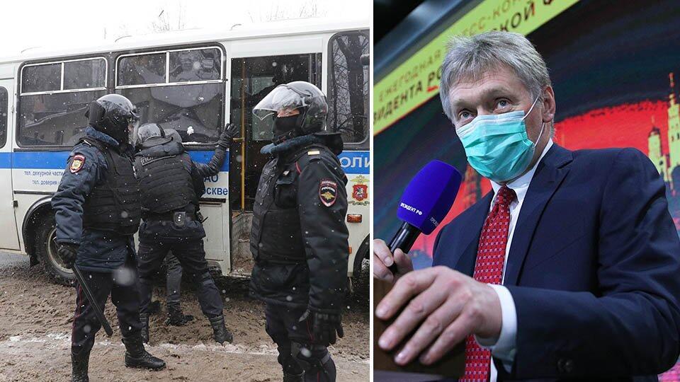 Песков оценилзадержания журналистов на несогласованных акциях