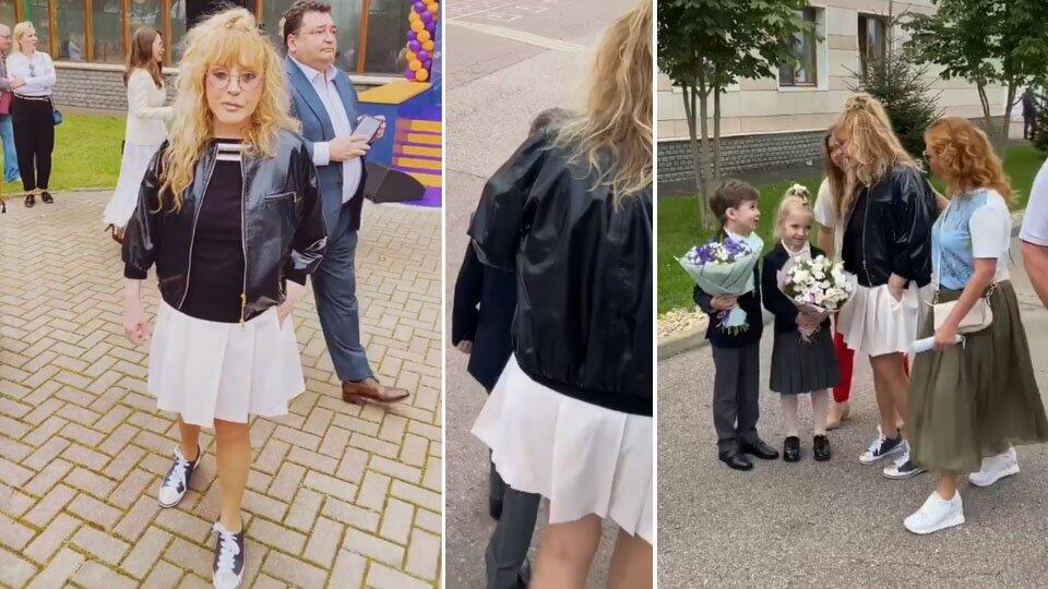 Пугачева отвела детей на линейку в белой мини-юбке