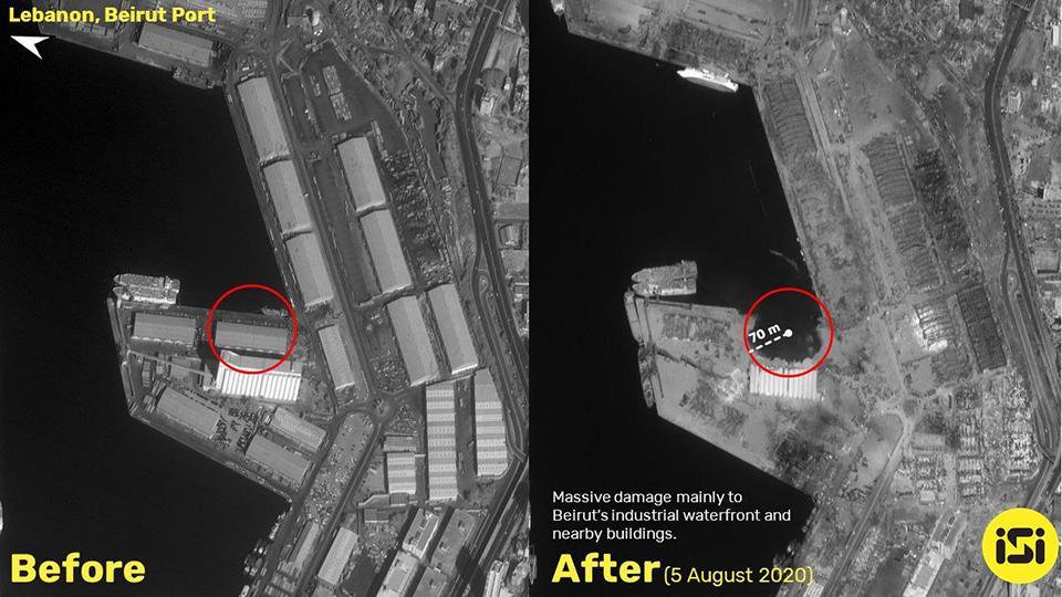Опубликованы спутниковые фото 70-метрового кратера от взрыва в Бейруте