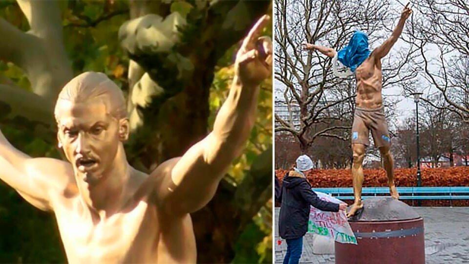 На статую Ибрагимовича наделимусорный мешок и сиденье для унитаза
