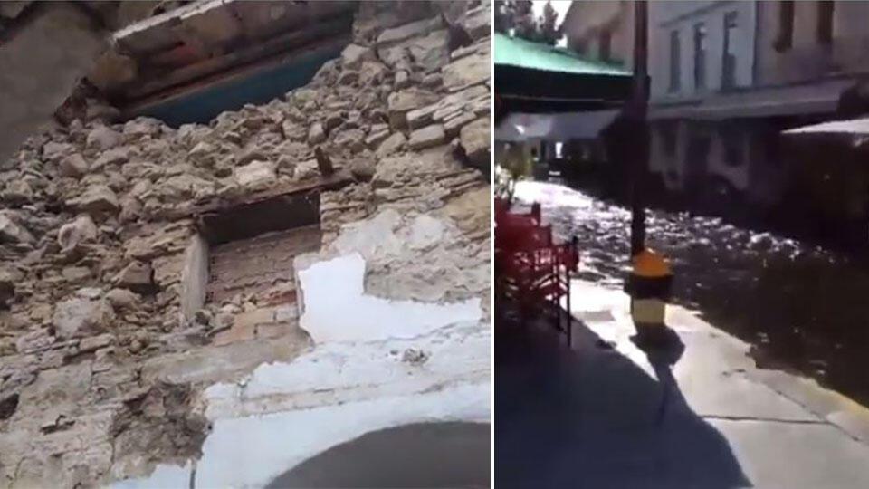 Обрушения и потоп: кадры последствий страшного землетрясения в Греции
