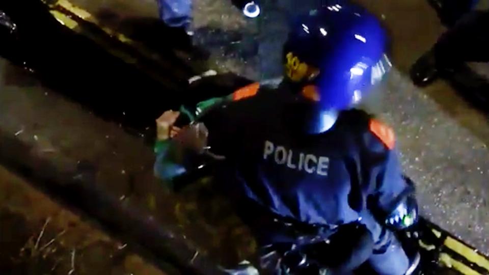 Британские полицейские избили лежачего протестующего