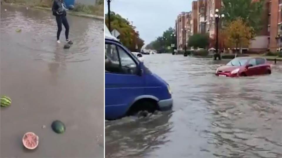 Плавают машины и арбузы: мощный ливень затопил улицы Керчи