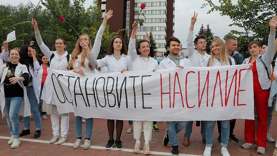 Колонна протестующих двинулась в центр Минска