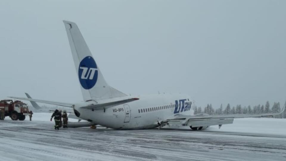 Видео с места жесткой посадки самолета Москва — Усинск