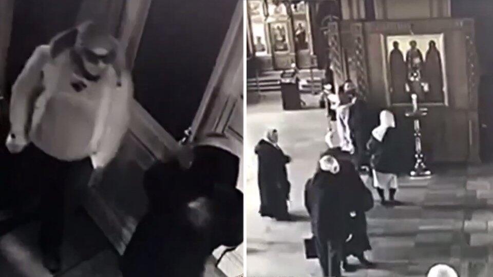 Полиция опубликовала видео нападения на храм в Москве